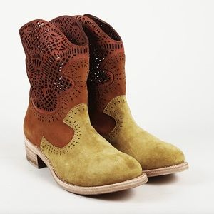 Sergio Rossi Brown Lasercut Real Suade Boots